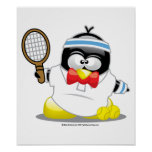 Tennis Penguin Poster