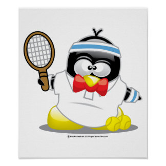 Tennis Penguin Poster
