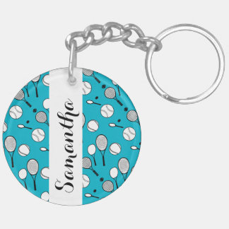 Tennis personalize name Double-Sided round acrylic keychain