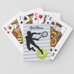 "Tennis, personalize with name playing cards<br><div class=""desc"">For the Tennis enthusiast. Your name (or a friend&#39;s) on this card showing a yellow tennis ball and silhouette of a player. Change the type font,  size,  color and position if desired. Makes a great gift - to yourself or someone else.</div>"
