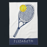 "Tennis Personalized Name or Monogram Kitchen Towel<br><div class=""desc"">Simply type your name or initials into the field provided to personalize this blue,  white and yellow tennis player,  coach or fan towel.  If you need assistance with this design,  please email us at info@holidayheartsdesigns.com and we will be happy to assist whenever possible.</div>"