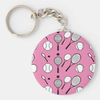 Tennis pink black white basic round button keychain