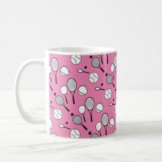 Tennis pink white black coffee mug