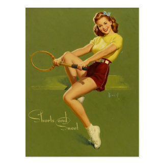 Tennis PinUp Girl Postcard