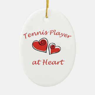 Tennis Player at Heart Ceramic Ornament