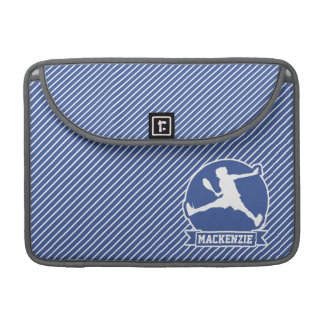 Tennis Player; Blue & White Stripes, Sports Sleeve For MacBooks