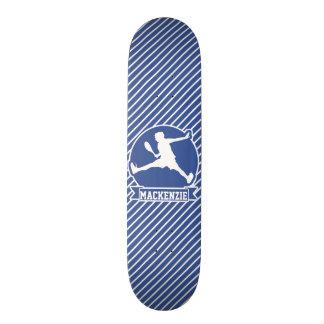 Tennis Player; Blue & White Stripes, Sports Skate Board Deck