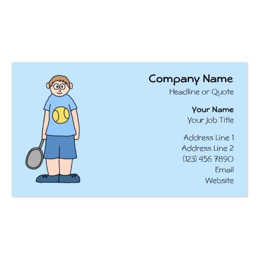 Tennis Player Boy. Business Card Templates
