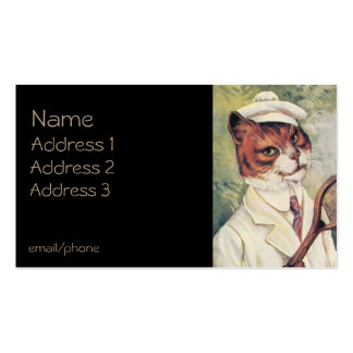 Tennis Player Cat Double-Sided Standard Business Cards (Pack Of 100)