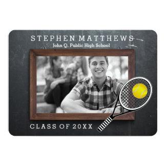 Tennis Player Chalkboard Photo Graduation 5x7 Paper Invitation Card