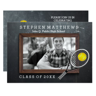 Tennis Player Chalkboard Photo Graduation Card