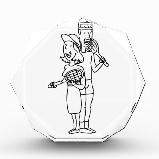 Tennis Player Couple Cartoon Acrylic Award