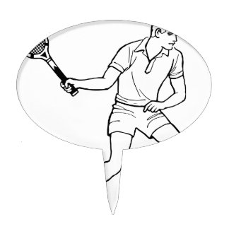 Tennis Player Drawing Cake Topper