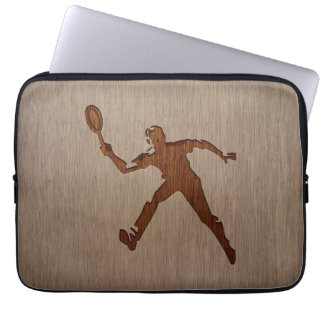 Tennis player engraved on wood design laptop sleeve