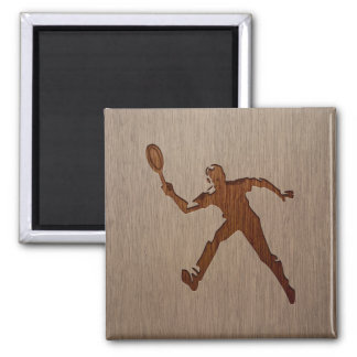 Tennis player engraved on wood design magnet