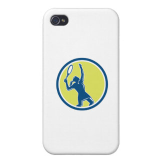 Tennis Player Female Racquet Circle Retro iPhone 4 Covers