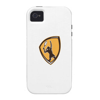 Tennis Player Female Racquet Shield Retro iPhone 4/4S Cover