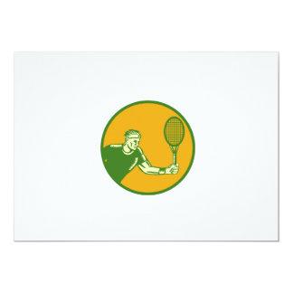 Tennis Player Forehand Circle Woodcut Card