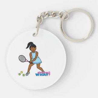 Tennis Player Girl - Dark Keychain