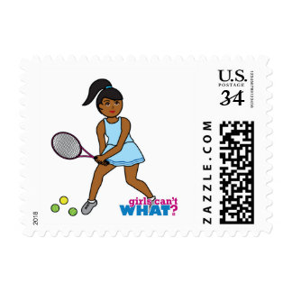 Tennis Player Girl - Dark Postage Stamps