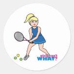 Tennis Player Girl - Light/Blonde Classic Round Sticker