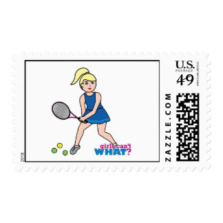 Tennis Player Girl - Light/Blonde Postage Stamps