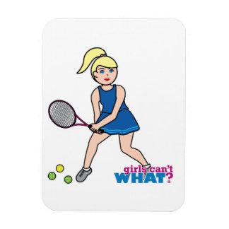 Tennis Player Girl - Light/Blonde Rectangular Magnets