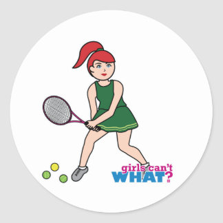 Tennis Player Girl - Light/Red Classic Round Sticker