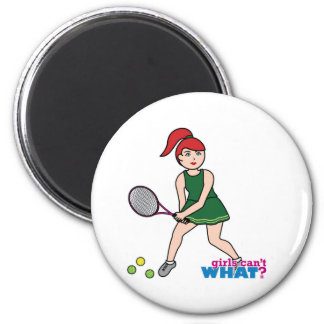 Tennis Player Girl - Light/Red Refrigerator Magnets