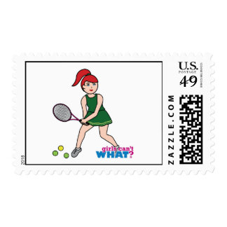 Tennis Player Girl - Light/Red Postage Stamp