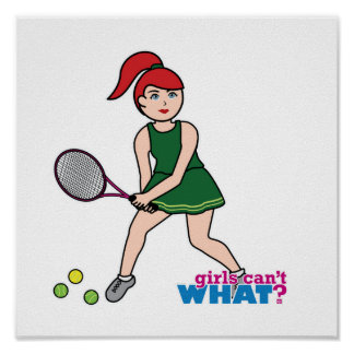 Tennis Player Girl - Light/Red Poster
