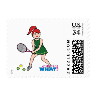 Tennis Player Girl - Light/Red Stamps