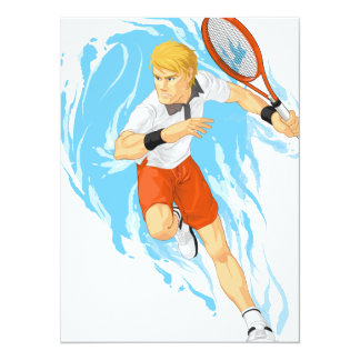 Tennis Player Holding Racket Personalized Invitation