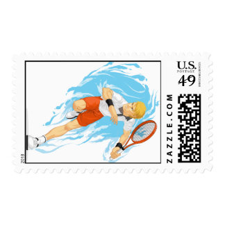 Tennis Player Holding Racket Postage