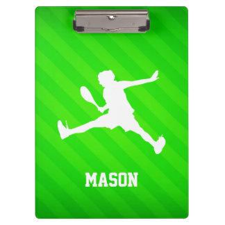 Tennis Player; Neon Green Stripes Clipboard