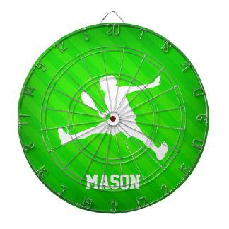Tennis Player; Neon Green Stripes Dart Board