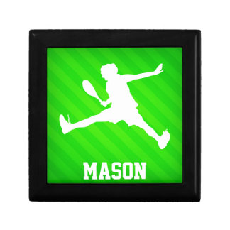Tennis Player; Neon Green Stripes Jewelry Boxes