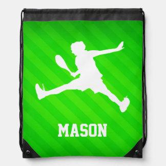 Tennis Player; Neon Green Stripes Drawstring Backpack