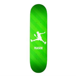 Tennis Player; Neon Green Stripes Skateboard