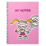 Tennis player notebook with ersonalizable cover
