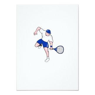 Tennis Player Racquet Cartoon Card