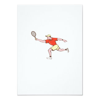 Tennis Player Racquet Forehand Cartoon Card