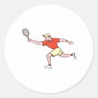 Tennis Player Racquet Forehand Cartoon Classic Round Sticker