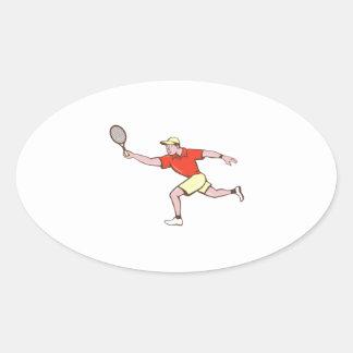 Tennis Player Racquet Forehand Cartoon Oval Sticker