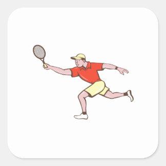 Tennis Player Racquet Forehand Cartoon Square Sticker