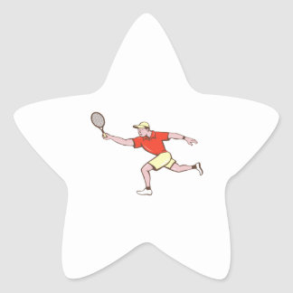 Tennis Player Racquet Forehand Cartoon Star Sticker
