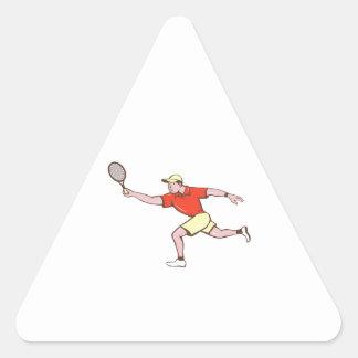 Tennis Player Racquet Forehand Cartoon Triangle Sticker