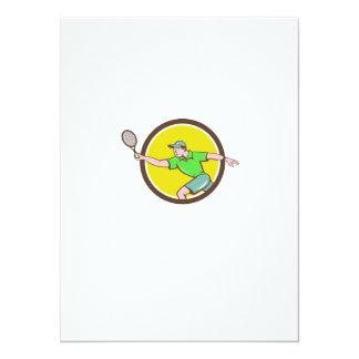 Tennis Player Racquet Forehand Circle Cartoon Card