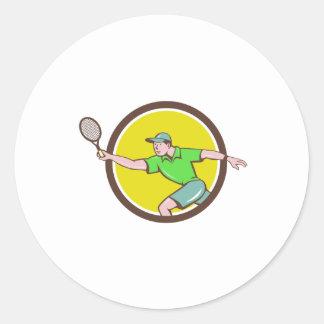 Tennis Player Racquet Forehand Circle Cartoon Classic Round Sticker