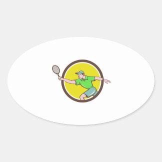 Tennis Player Racquet Forehand Circle Cartoon Oval Sticker